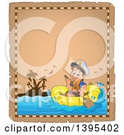 Clipart Of A Distressed Aged Parchement Page With A Happy Brunette Caucasian Sailor Boy In A Raft Or Emergency Boat Royalty Free Vector Illustration