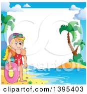 Clipart Of A Border Frame Of A Happy Caucasian Girl Holding An Inner Tube And Wearing Arm Floaties Royalty Free Vector Illustration