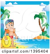 Clipart Of A Border Frame Of A Caucasian Boy Holding An Inner Tube And Wearing Arm Floaties Royalty Free Vector Illustration