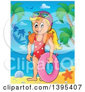 Clipart Of A Cartoon Happy Caucasian Girl Holding An Inner Tube And Wearing Arm Floaties On A Tropical Beach Royalty Free Vector Illustration