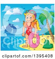 Clipart Of A Cartoon Happy Caucasian Girl Holding An Inner Tube And Wearing Arm Floaties On A Tropical Beach With A Ship In The Distance Royalty Free Vector Illustration