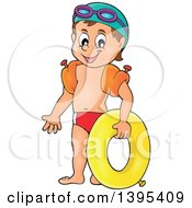 Cartoon Happy Caucasian Boy Holding An Inner Tube And Wearing Arm Floaties