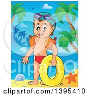 Clipart Of A Cartoon Happy Caucasian Boy Holding An Inner Tube And Wearing Arm Floaties On A Tropical Beach Royalty Free Vector Illustration