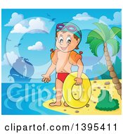 Clipart Of A Cartoon Happy Caucasian Boy Holding An Inner Tube And Wearing Arm Floaties On A Tropical Beach With A Ship In The Distance Royalty Free Vector Illustration