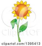 Clipart Of A Golden Sunflower Royalty Free Vector Illustration