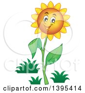 Clipart Of A Happy Sunflower Royalty Free Vector Illustration by visekart