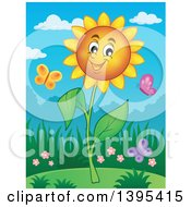 Clipart Of A Happy Sunflower And Butterflies Royalty Free Vector Illustration by visekart