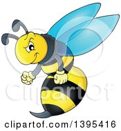 Clipart Of A Cartoon Tough Wasp Royalty Free Vector Illustration by visekart
