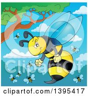 Clipart Of A Tough Wasp And Group Against A Tree Shrubs And Sky Royalty Free Vector Illustration by visekart