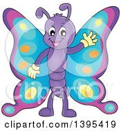 Clipart Of A Happy Butterfly Waving Royalty Free Vector Illustration