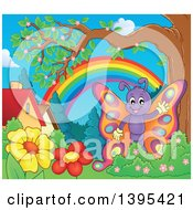 Clipart Of A Happy Butterfly Waving In A Yard Royalty Free Vector Illustration by visekart