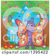 Clipart Of A Happy Butterfly Waving Under Trees Royalty Free Vector Illustration