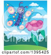 Clipart Of A Happy Butterfly By A Purple Flower Royalty Free Vector Illustration