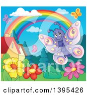 Clipart Of A Happy Butterfly Over Flowers In A Yard Royalty Free Vector Illustration by visekart