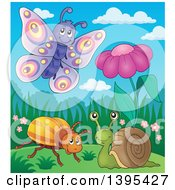 Clipart Of A Butterfly Snail And Beetle By A Spring Flower Royalty Free Vector Illustration by visekart