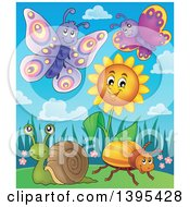 Clipart Of Butterflies A Snail And Beetle By A Spring Sunflower Royalty Free Vector Illustration by visekart