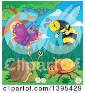 Clipart Of A Cartoon Butterfly Wasp Snail And Beetle In The Spring Royalty Free Vector Illustration by visekart