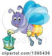 Clipart Of A Cartoon Happy Firefly Holding A Lantern Royalty Free Vector Illustration