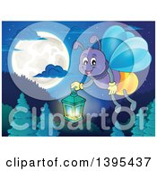 Cartoon Happy Firefly Holding A Lantern Over A Full Moon And Mountains