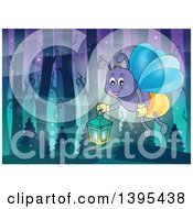 Cartoon Happy Firefly Holding A Lantern In A Forest