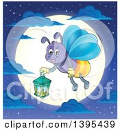 Cartoon Happy Firefly Holding A Lantern Over A Full Moon
