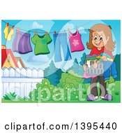 Clipart Of A Happy Brunette Caucasian Woman Hanging Laundry To Dry In Her Yard Royalty Free Vector Illustration by visekart
