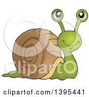 Clipart Of A Happy Brown And Green Snail Royalty Free Vector Illustration