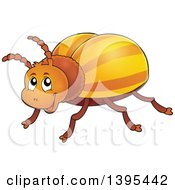 Clipart Of A Happy Striped Beetle Royalty Free Vector Illustration
