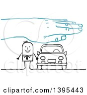 Clipart Of A Sketched Blue Hand Over A Stick Business Man And Car Royalty Free Vector Illustration