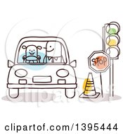 Clipart Of A Sketched Stick Man Teaching A Child How To Drive Royalty Free Vector Illustration