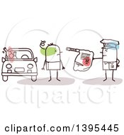 Clipart Of A Sketched Stick Man Police Officer Giving A Drunk Driver A Breathalyzer Test Royalty Free Vector Illustration
