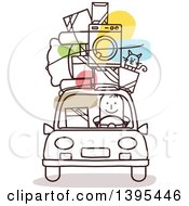 Clipart Of A Sketched Stick Man Moving With Items On The Roof Of A Car Royalty Free Vector Illustration
