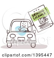 Clipart Of A Sketched Stick Man Driving And Holding Out A License Royalty Free Vector Illustration