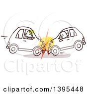 Clipart Of Sketched Stick Drivers Crashing Cars Into Each Other Royalty Free Vector Illustration
