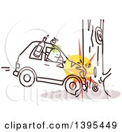 Clipart Of A Sketched Drunk Stick Man Crashing A Car Into A Tree Royalty Free Vector Illustration