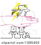 Clipart Of A Pink Hand Protecting A Sketched Stick Family From A Storm Royalty Free Vector Illustration