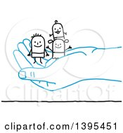 Sketched Blue Hand Holding A Stick Man And Family