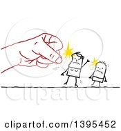 Clipart Of A Sketched Red Hand Punching A Stick Mother And Child Royalty Free Vector Illustration