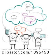 Clipart Of A Sketched Stick Family Using Gadgets On The Cloud Royalty Free Vector Illustration
