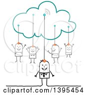 Sketched Stick Business Man And Family Connected To The Cloud