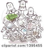 Clipart Of A Sketched Stick Business Man And Family On A Pile Of Trash Royalty Free Vector Illustration