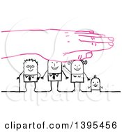 Clipart Of A Pink Hand Protecting A Sketched Stick Business Man Wife Baby And Senior Man Royalty Free Vector Illustration