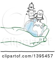 Clipart Of A Sketched Stick Man And Family And Globe In A Green Hand Royalty Free Vector Illustration