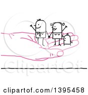 Clipart Of A Sketched Stick Business Man And Family On A Pink Hand Royalty Free Vector Illustration