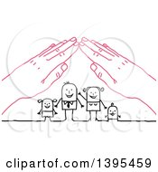 Clipart Of A Sketched Stick Business Man And Family Under A Roof Of Pink Hands Royalty Free Vector Illustration by NL shop