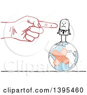 Clipart Of A Sketched Red Hand Blaming And Pointing To A Stick Business Man On A Bandaged Earth Royalty Free Vector Illustration