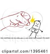 Clipart Of A Sketched Red Fist Punching A Stick Business Man Royalty Free Vector Illustration