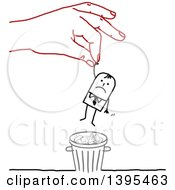 Clipart Of A Sketched Red Hand Rescuing A Stick Business Man From The Trash Royalty Free Vector Illustration