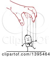 Clipart Of A Sketched Red Hand Controlling A Stick Business Man Like A Puppet On Strings Royalty Free Vector Illustration