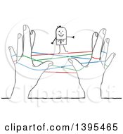 Poster, Art Print Of Sketched Stick Business Man Standing On Networking Strings Connected Between Hands